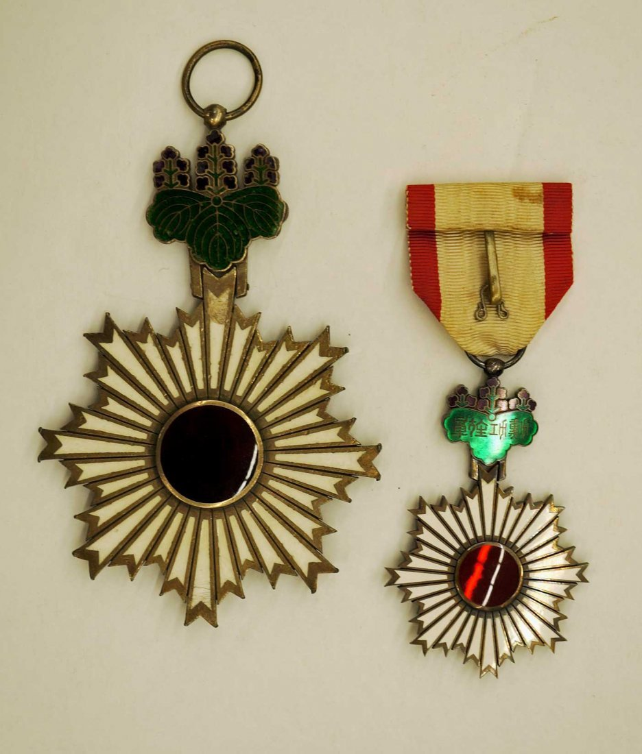 Japan Order of the Rising Sun Medals (2). Larger of the - 3