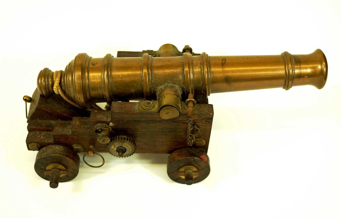 Model Cannon, Solid Brass on Wooden Base, cannon - 2