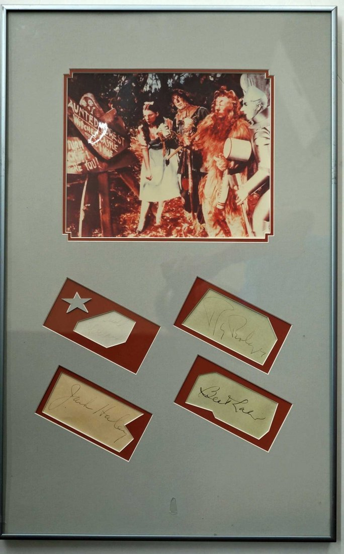 Wizard of Oz Framed Display. Contains Cut Signatures of