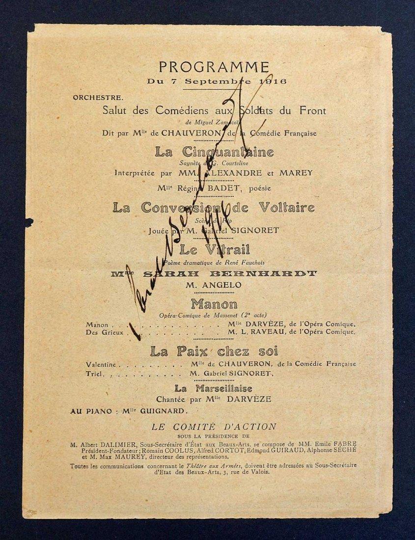 Sarah Bernhardt Signed Theater Program, Sept. 7, 1916.