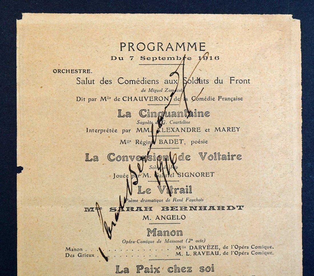 Sarah Bernhardt Signed Theater Program, Sept. 7, 1916. - 3