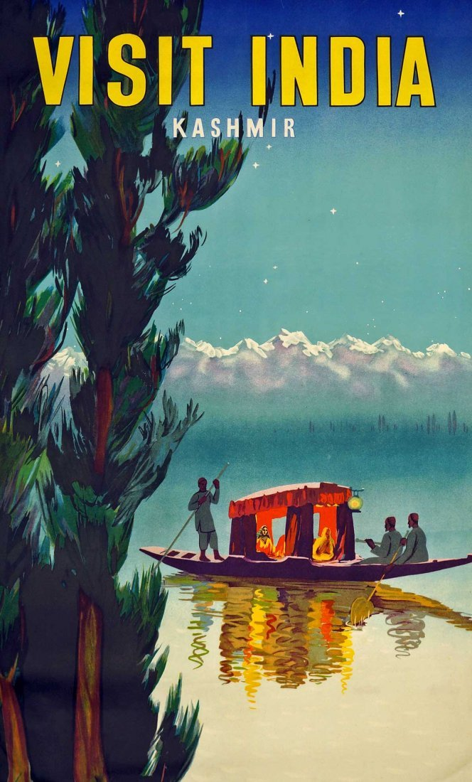 Kashmir Visit India Travel Poster, 39.75'' x 24.75''.
