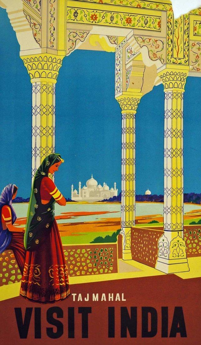 Taj Mahal Visit India Travel Poster, circa 1950's.