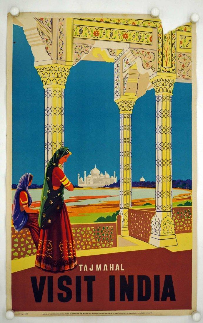 Taj Mahal Visit India Travel Poster, circa 1950's. - 2