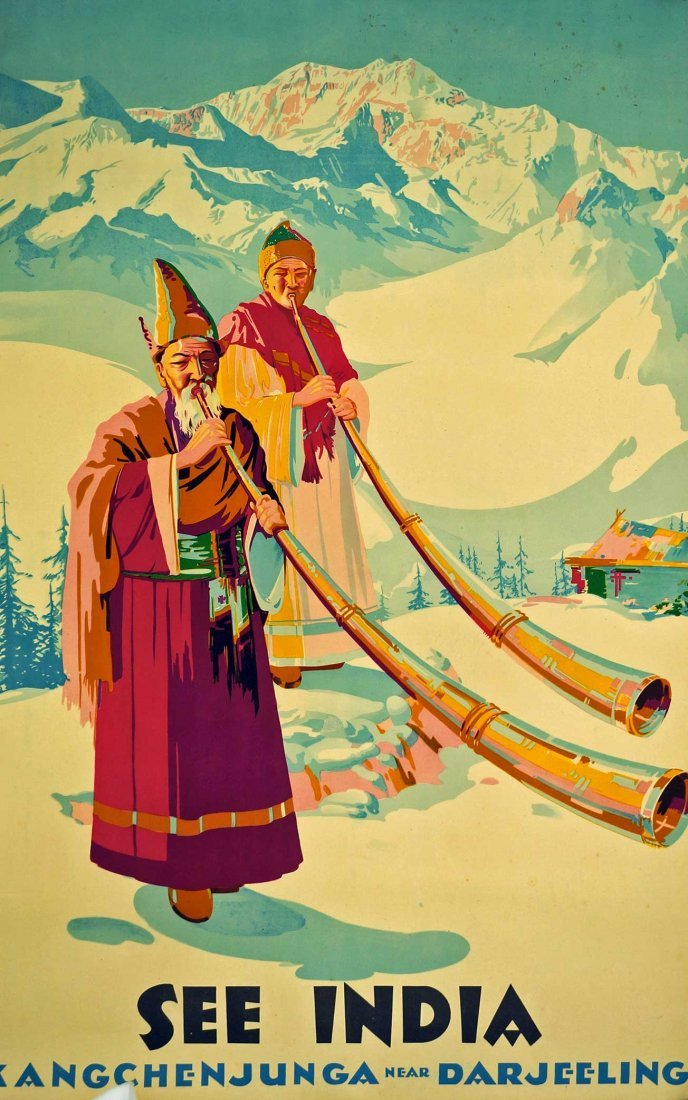 See India Travel Poster, circa 1950's. 39.75'' x 25'',