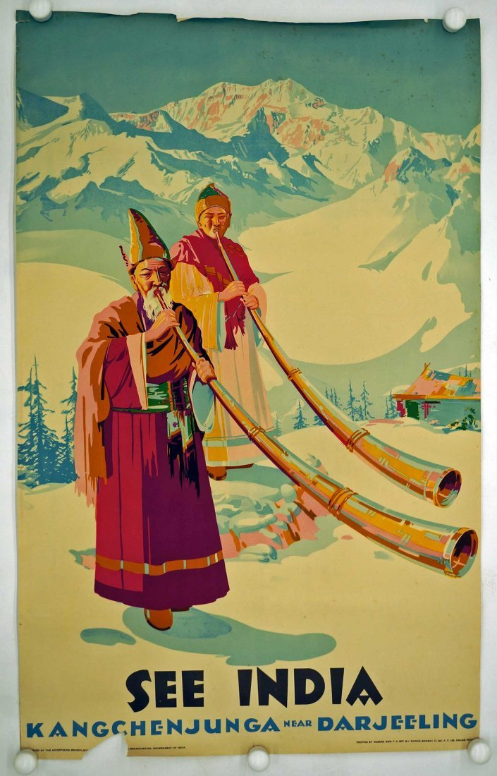 See India Travel Poster, circa 1950's. 39.75'' x 25'', - 2