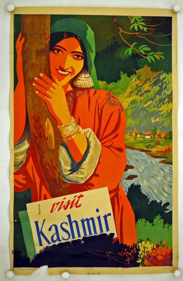 Visit Kashmir India Travel Poster. 39.25'' x 24.75'' - 2