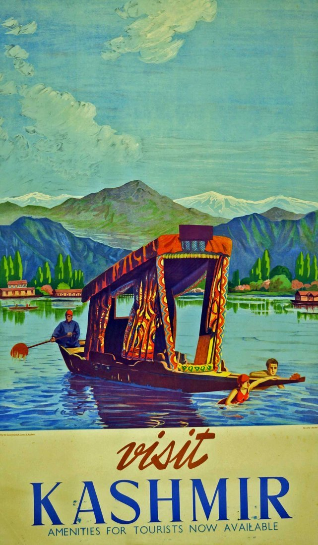 Visit Kashmir India Travel Poster, circa 1950's. G/VG