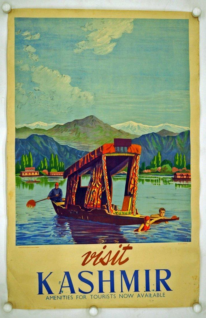 Visit Kashmir India Travel Poster, circa 1950's. G/VG - 2