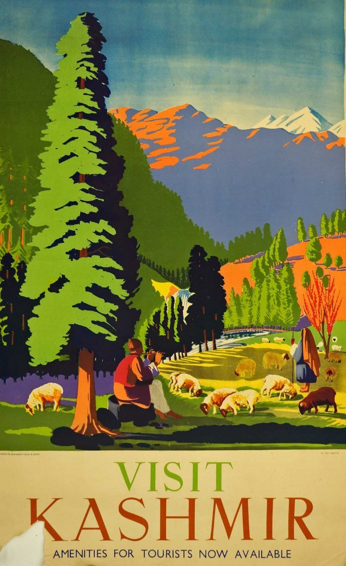 Vintage Kashmir India Travel Poster, circa 1950's.