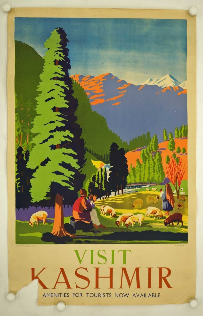 Vintage Kashmir India Travel Poster, circa 1950's. - 2