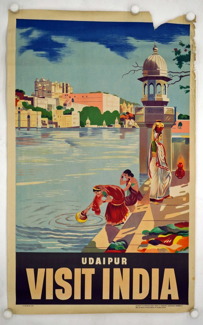 Udaipar India Travel Poster, 39.75'' x 25''. Fair to - 2