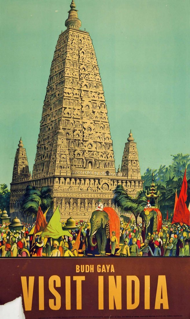 Budh Gaya India Travel Poster, cirac 1950's. 38.75'' x