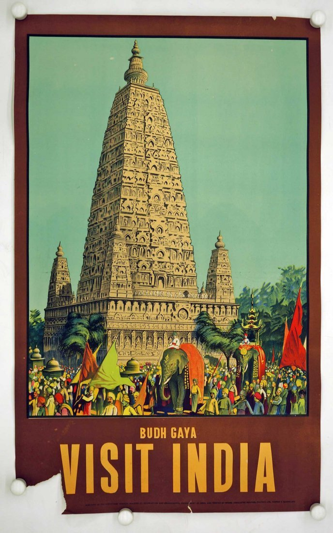 Budh Gaya India Travel Poster, cirac 1950's. 38.75'' x - 2