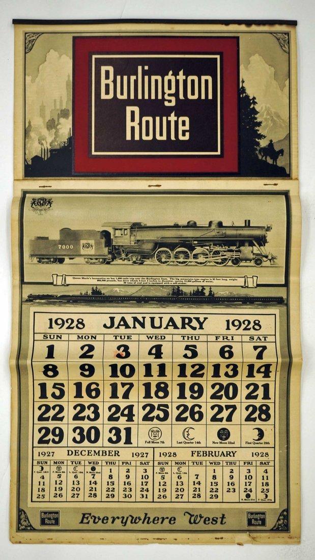 1928 Burlington Route Railroad Calendar. 20'' x 11'',