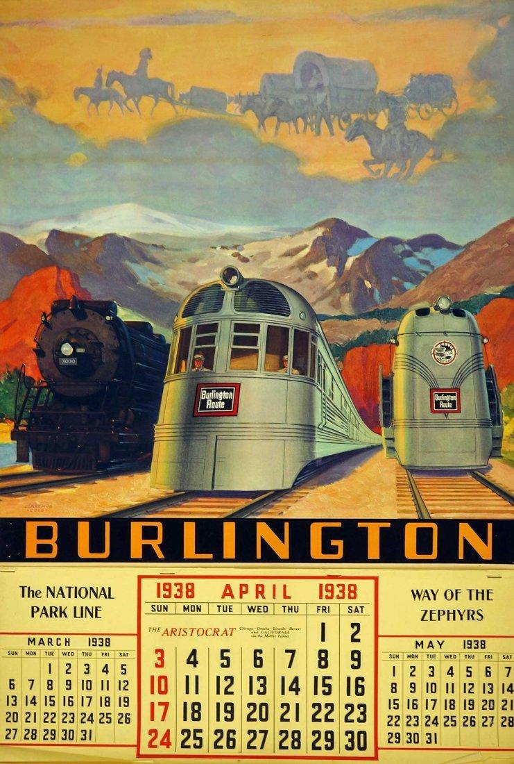 1938 Burlington Route Railraod Calendar. 27'' x 18'',