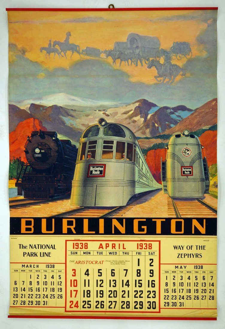 1938 Burlington Route Railraod Calendar. 27'' x 18'', - 2