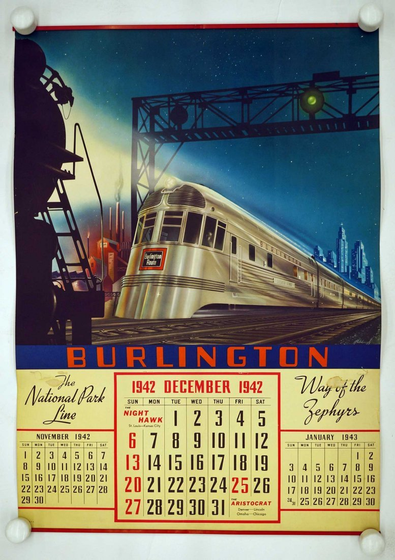 Burlington Route, Group of Six Railroad Calendars.