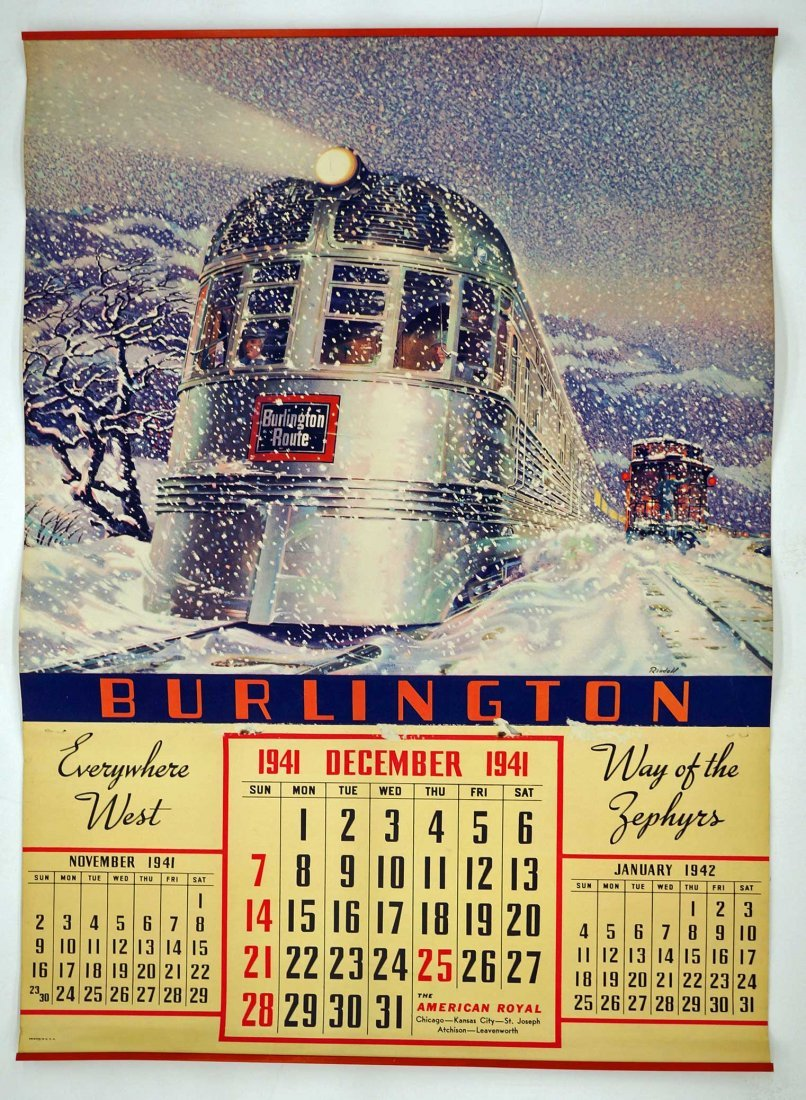 Burlington Route, Group of Six Railroad Calendars. - 2