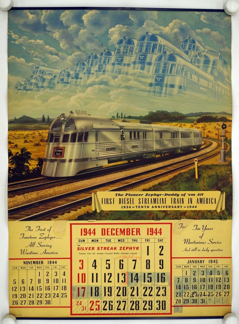 Burlington Route, Group of Six Railroad Calendars. - 3