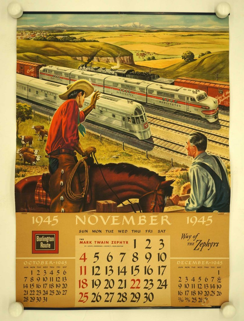 Burlington Route, Group of Six Railroad Calendars. - 5