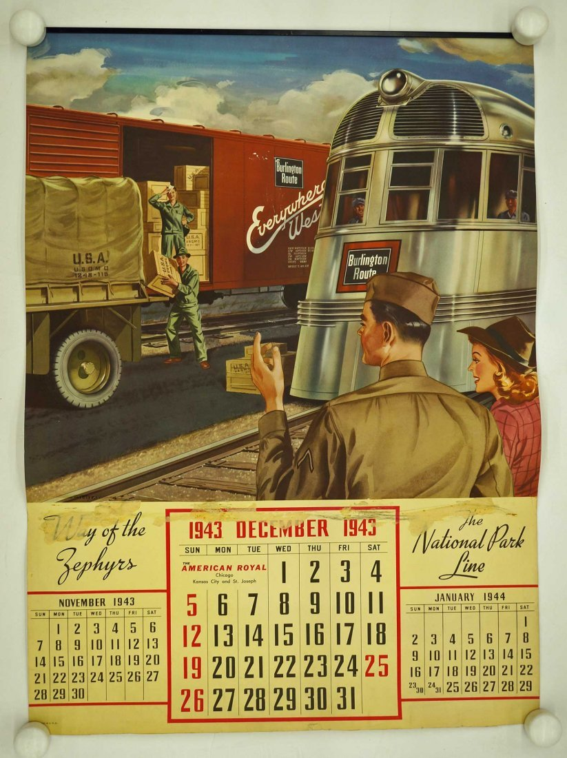 Burlington Route, Group of Six Railroad Calendars. - 6