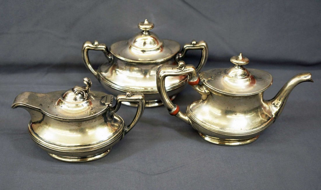 Northern Pacific Railroad Silver Plate Tea Set. Three