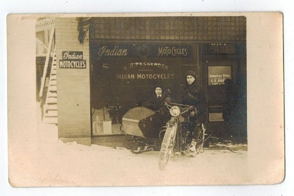 Indian Motorcycle Antique Real Photo Postcard. Depicts