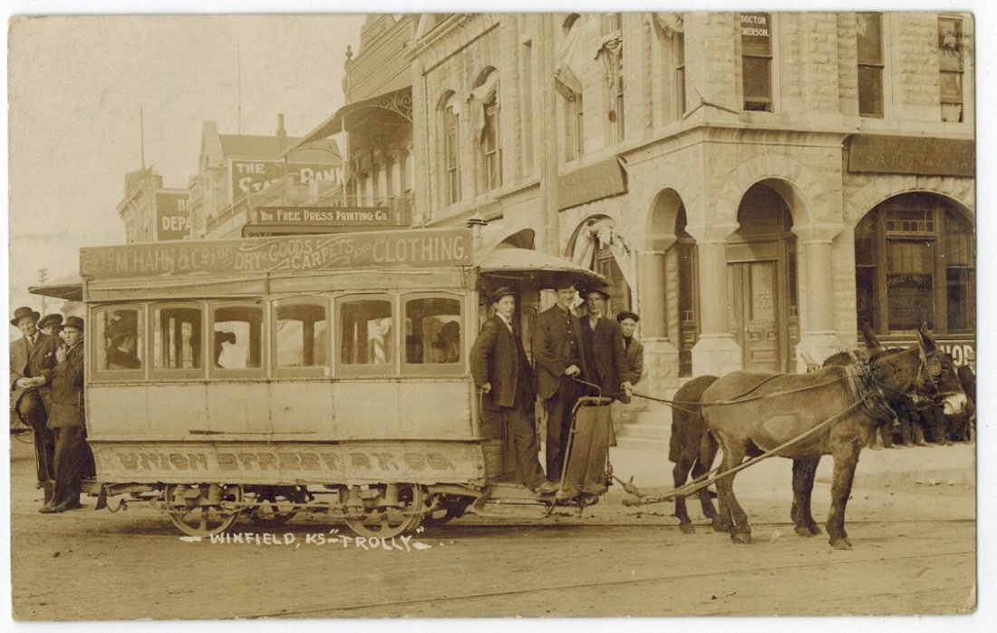 Winfield, KS Trolley Streetcar Antique Real Photo