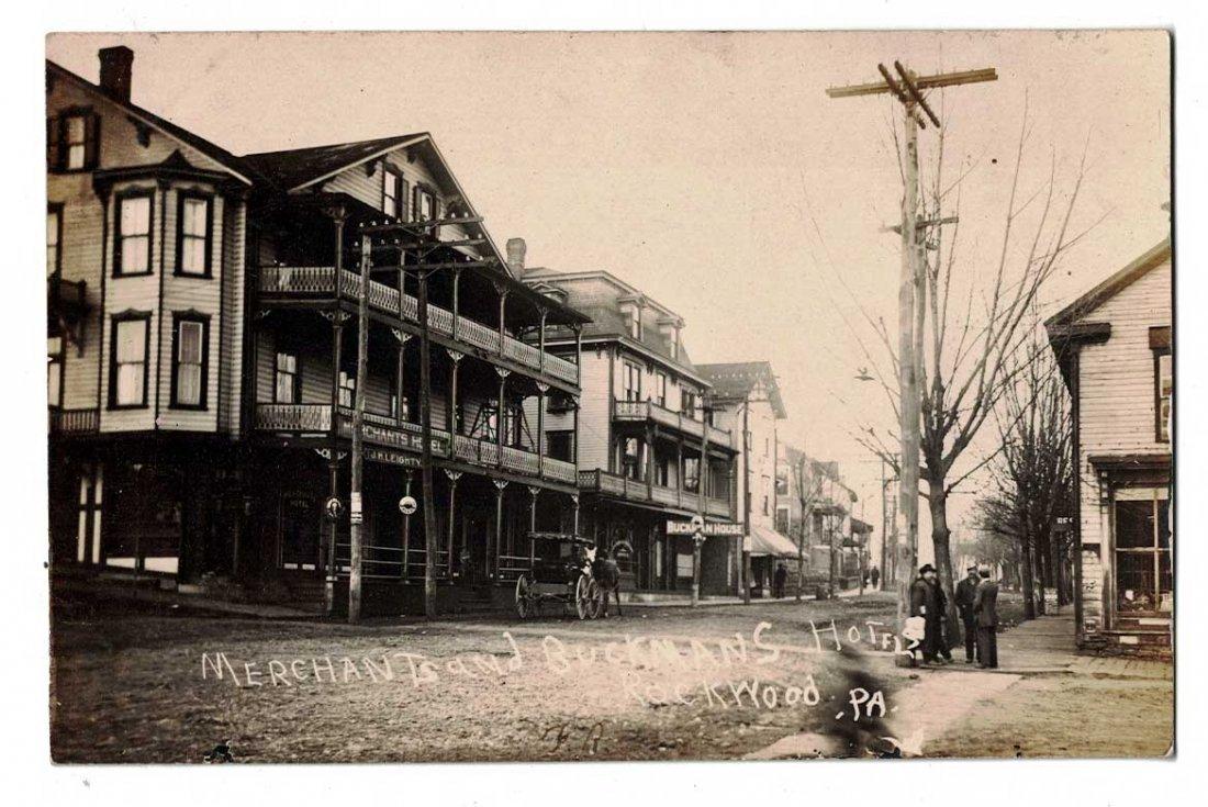 Merhants and Buckmans Hotel, Rockwood, Pa. Antique Real