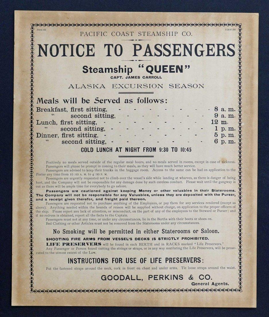 Steamship ''Queen'' Original Broadside for Pacific