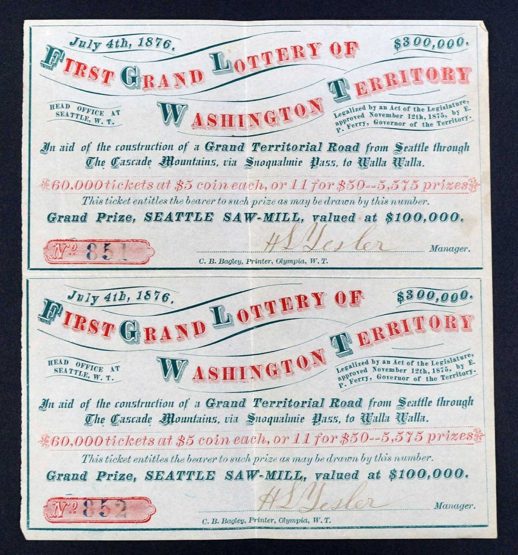 1876 Washington (State) Grand Lottery pair of original - 2