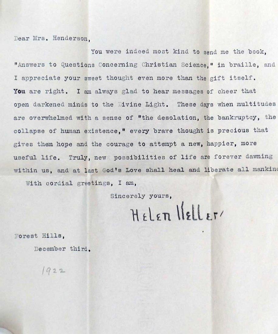 Helen Keller ALS Signed Letter