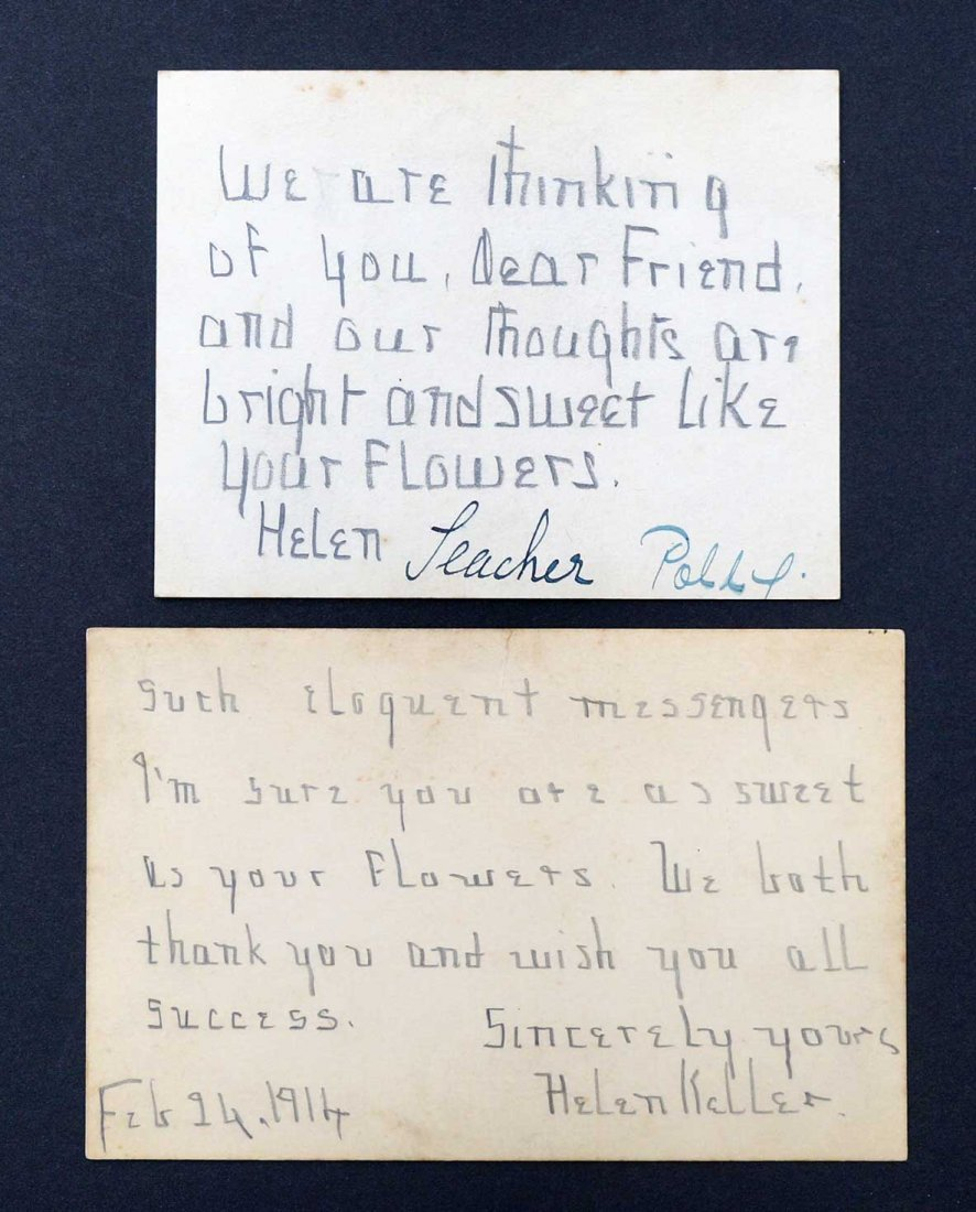 Helen Keller Pair of Signed Handwritten Note Cards