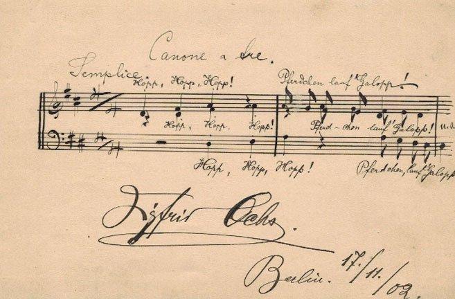 Siegfried Ochs Autographed Musical Quotation