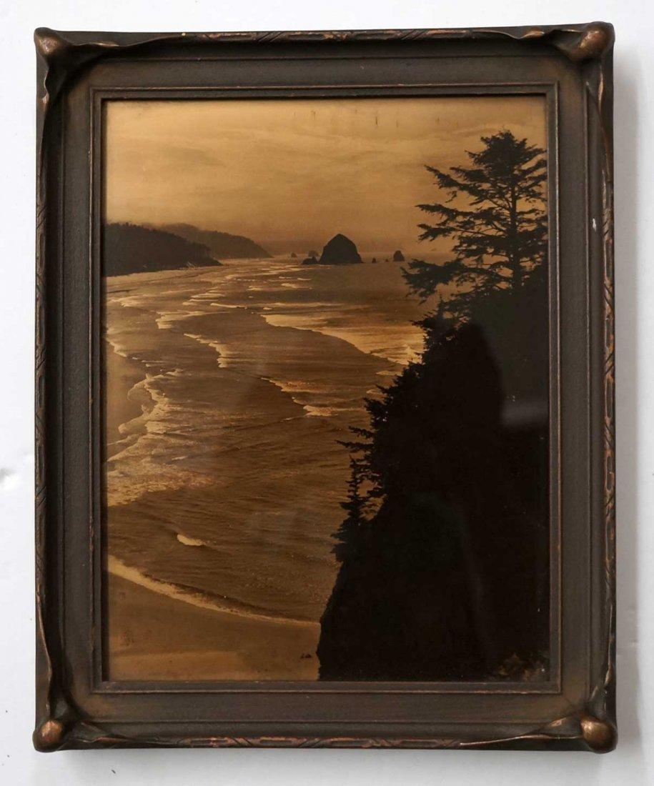 Northwest Coastal Scene Orotone Goldtone Photograph