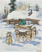 Ellen Goodale (1915-1991 Alaska) Dog Sled with Cabin