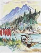 Ellen Goodale (1915-1991 Alaska) River Scene with