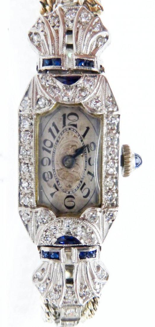 Lady's Art Deco 14k Glycine Wristwatch. Solid 14k white