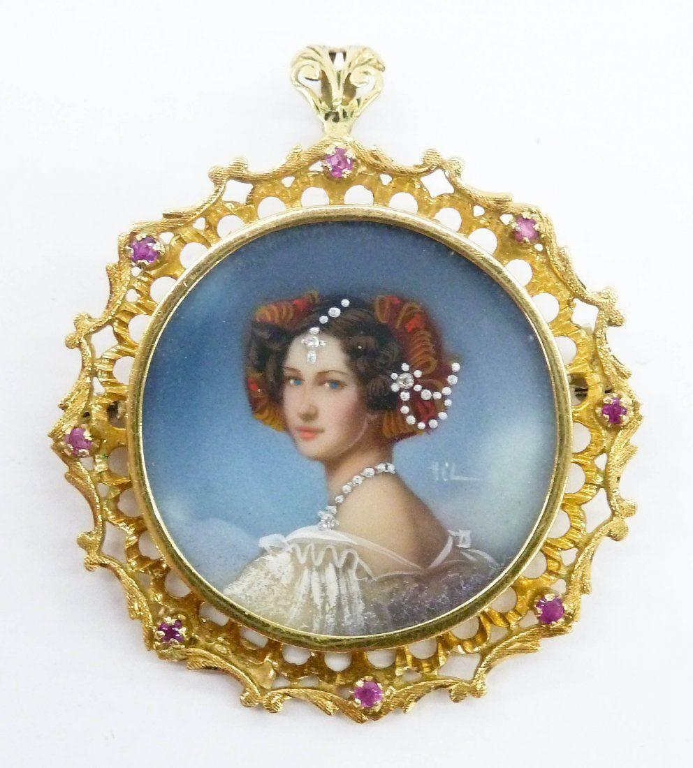 Lady's 18k Italian Miniature Portrait Pendant Brooch