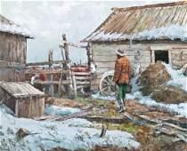 Fred Oldfield (b.1918 Washington) ''Barnyard Cowboy''