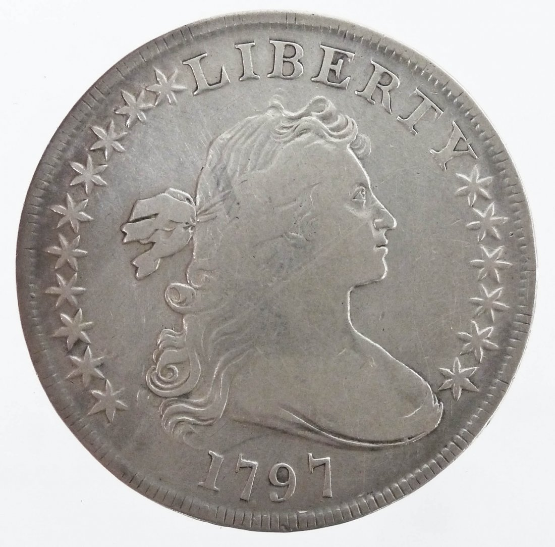 US 1797 Draped Bust Silver Dollar. Ten stars left and