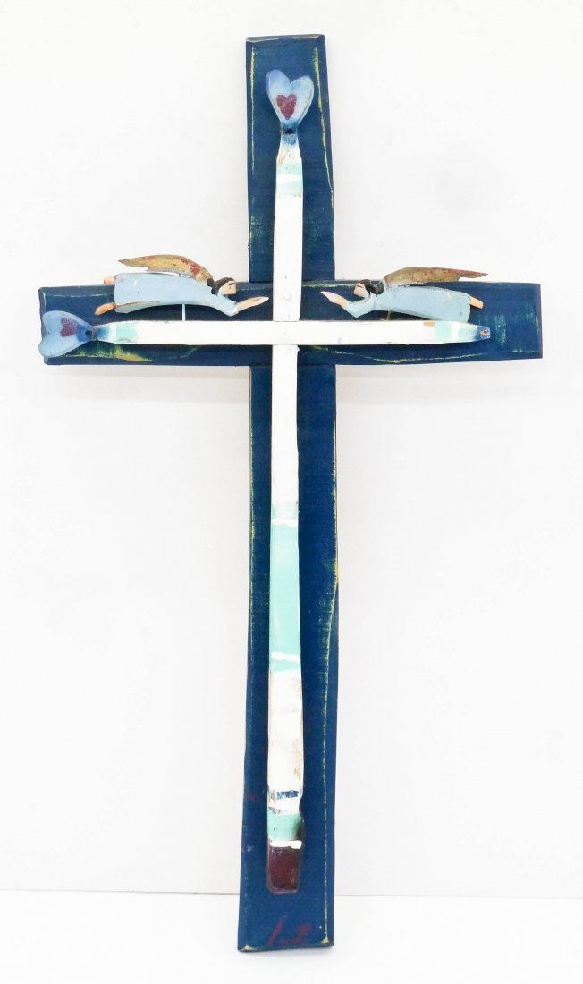 Jim Wagner (b.1940 American) ''Cross with Angels'' 1998