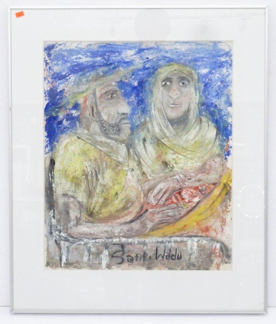 Sane Wadu (b.1954 African) ''Child Unwell'' Oil on - 2