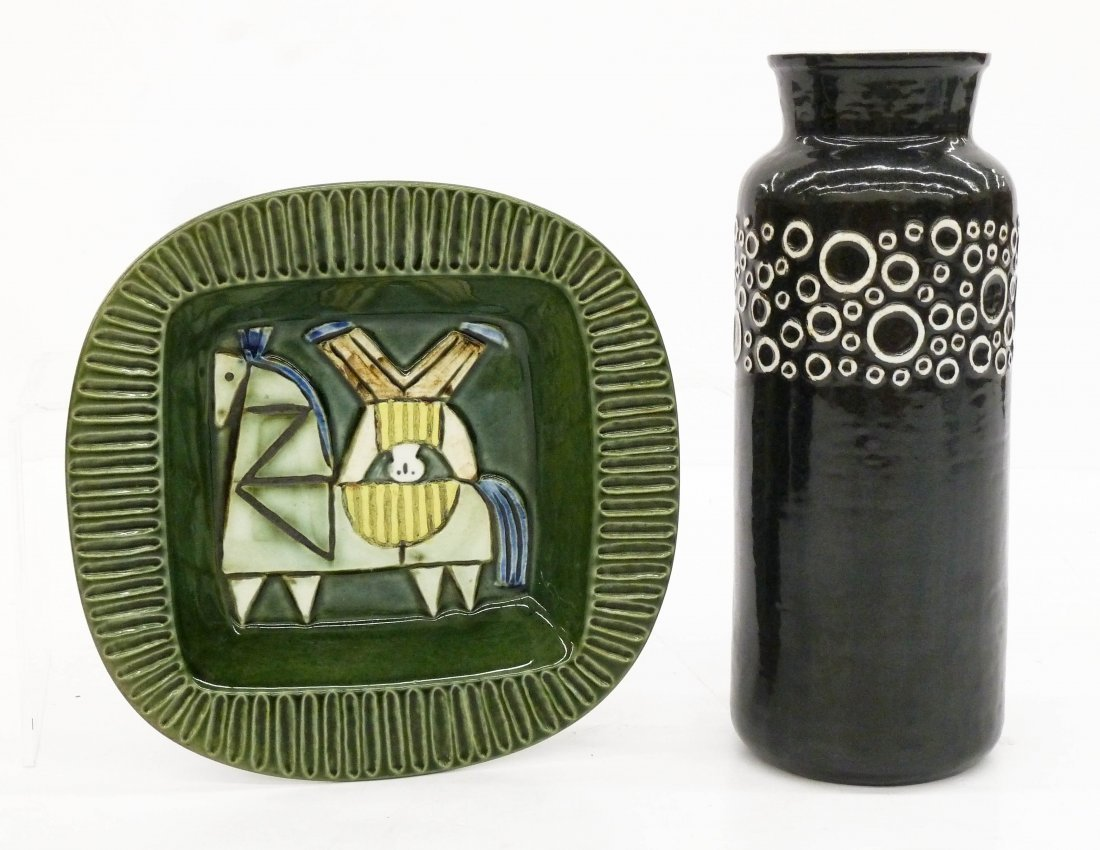 2pc Gustavsberg Sweden Ceramics. Includes a black and - 2