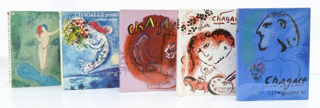 5pc Art Books on Marc Chagall. Includes his catalog