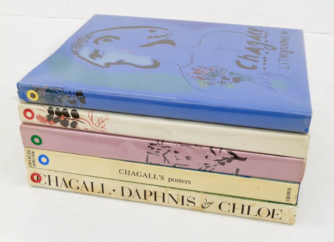 5pc Art Books on Marc Chagall. Includes his catalog - 2