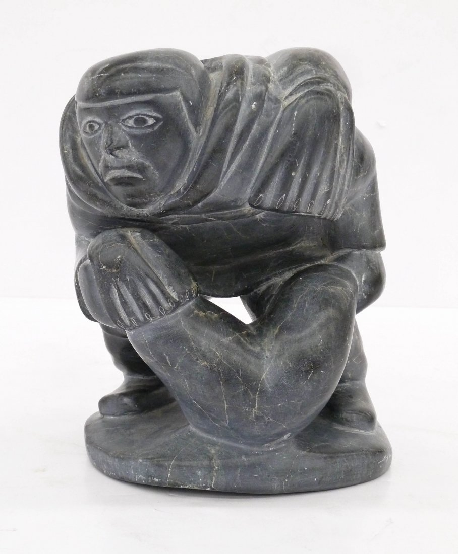 Inuit Hunter with Seals Carved Soapstone Sculpture