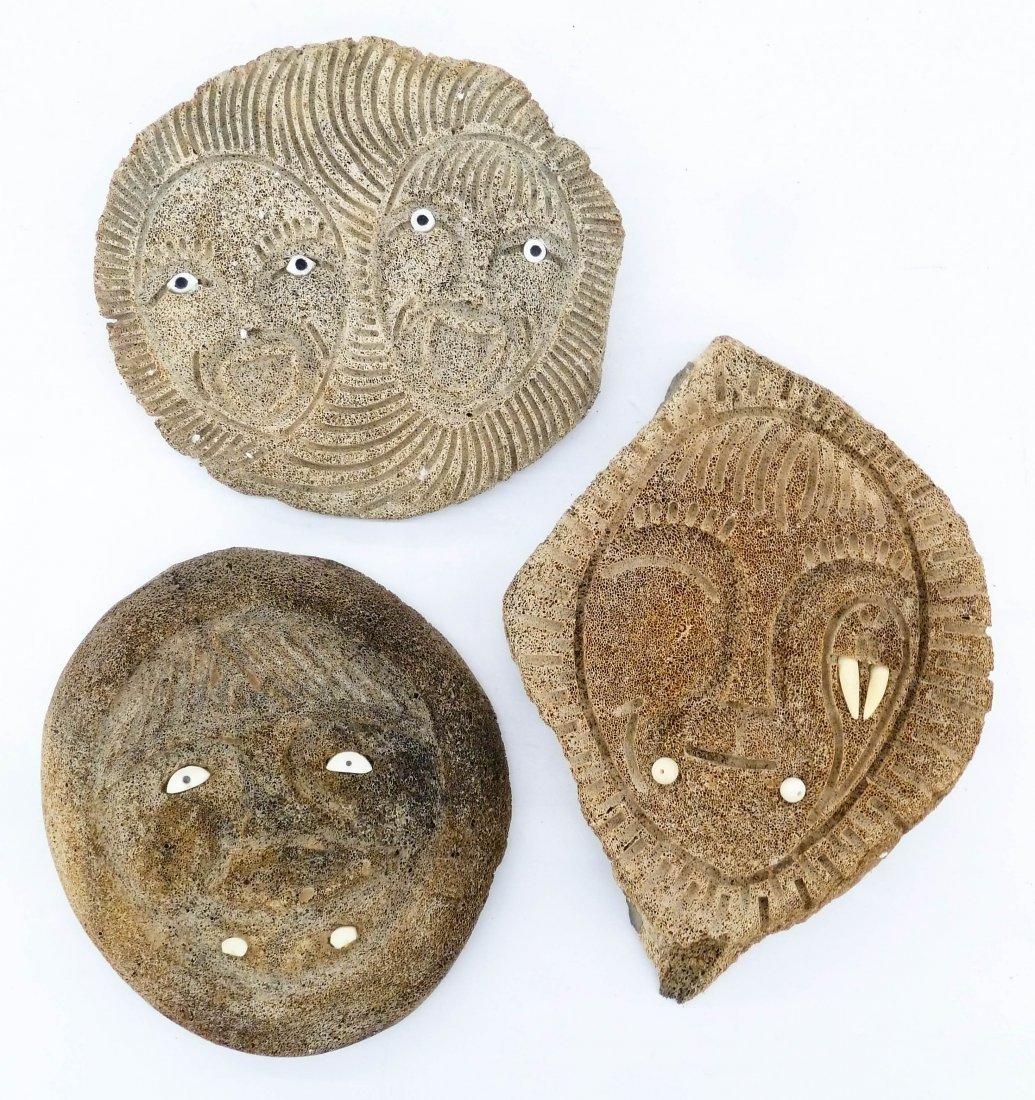 3pc Old Eskimo Whale Bone Masks. Includes an ivory