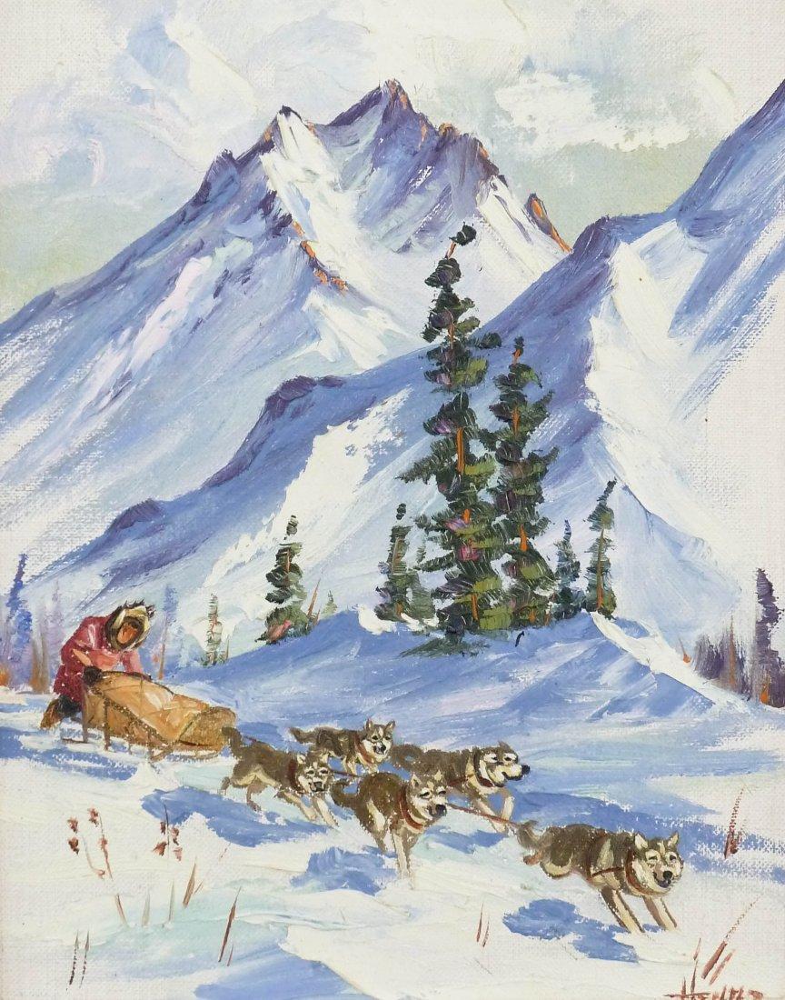Ellen Goodale (1915-1991 Alaska) Two Eskimo Scenes Oil